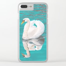 Gliding Swan Clear iPhone Case
