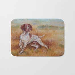 POINTING DOG German Pointer in the field Bath Mat