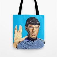 spock Tote Bags featuring Spock by Connor Corbett