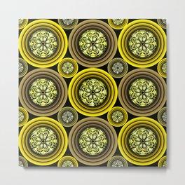 Green yellow Sea Anemones Metal Print