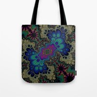 novelty Tote Bags featuring Peacock Fractal by Moody Muse