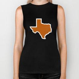 Texas Outline in Burnt Orange, Longhorns Biker Tank