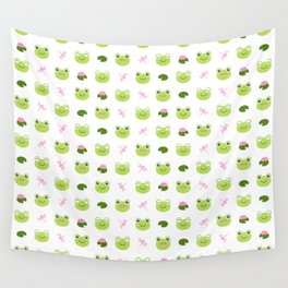 Frogs, Dragonflies and Lilypads on White Wall Tapestry