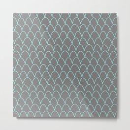 Modern gray teal trendy scallope pattern Metal Print