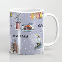 Amsterdam, windmill watercolor pattern. Coffee Mug