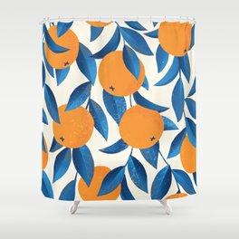 Oranges hand drawn vintage illustration pattern Shower Curtain