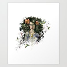 Hummingbird Hair Art Print