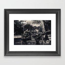 Bob Dylan & Stanley Kubrick Sittin' on a Bench Framed Art Print