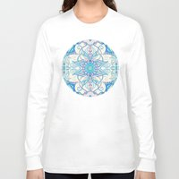 bedding Long Sleeve T-shirts featuring Teal Blue, Pearl & Pink Floral Pattern by micklyn