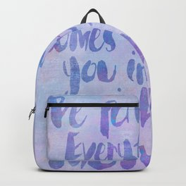Be patient pastel colored watercolor typography Backpack