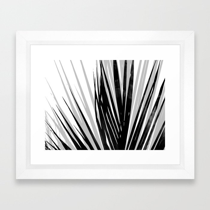 Contemporary Palm Leaf in Black and White - Horizontal Framed Art Print
