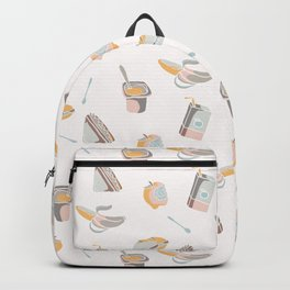 Packed Lunch Seamless Pattern, Hand Drawn Flat Color Vector Food Backpack
