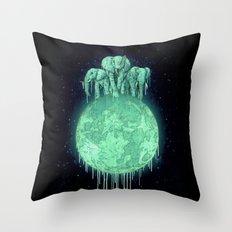 elephants on moon (variant) mint Throw Pillow