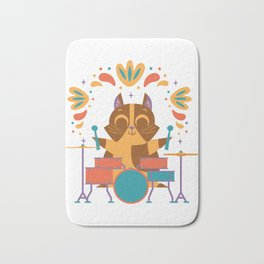 Cat Playing Drums Funny Drum Drummer Gift design Bath Mat