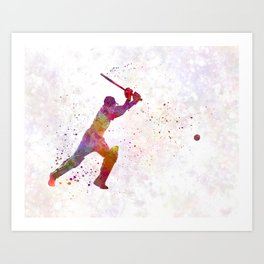 Cricket player batsman silhouette 04 Art Print