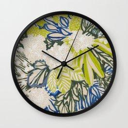 White chrysanthemums -ink floral Wall Clock