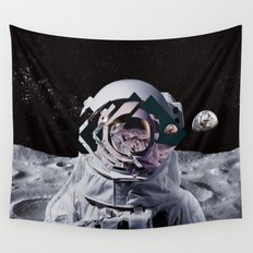 Spaceman oh spaceman, come rescue me (teal) Wall Tapestry