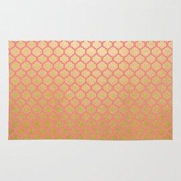 Chic modern coral faux gold quatrefoil pattern Rug