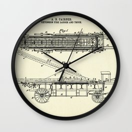 Extension Fire Ladder and Truck-1894 Wall Clock