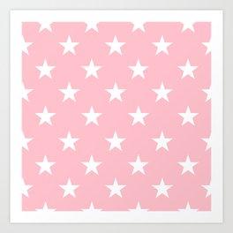 Stars (White/Pink) Art Print