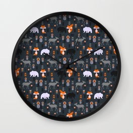 Wild foxes, deer, bears and flowers Wall Clock