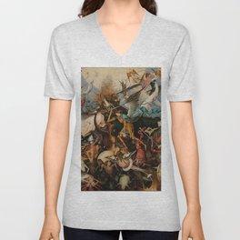 Pieter Bruegel the Elder The Fall of the Rebel Angels Unisex V-Neck