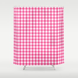 Gingham Print - Pink Shower Curtain