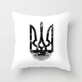 Ukrainian Roots Vintage Tryzub - Distressed Coat of Arms Ukraine Throw Pillow