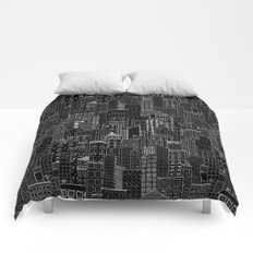City Doodle (night) Comforters