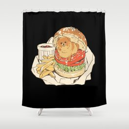 dog in hamburger Shower Curtain