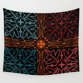 Teal Motif Wall Tapestry