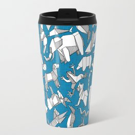 origami animal ditsy blue Travel Mug