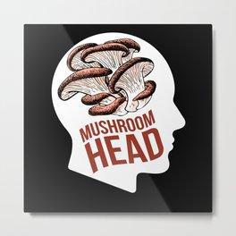 Mushroom Head Mushroom Collecting Fungi Metal Print