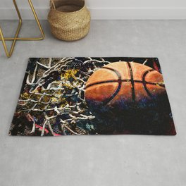 Basketball art print swoosh 291 - Basketball artwork by takumipark Rug