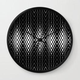 Geometric Black and White Diamond Scales Pattern Wall Clock