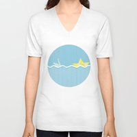 origami V-neck T-shirts featuring Origami summer by Oh! My darlink