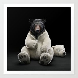 Black bear wearing polar bear costume Art Print