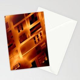 Abstract 379 Orange Geometric Windows Stationery Cards