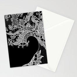 Zen Tree Rebirth Black Left Half Stationery Cards
