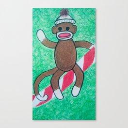 Christmas Sock Monkey Canvas Print