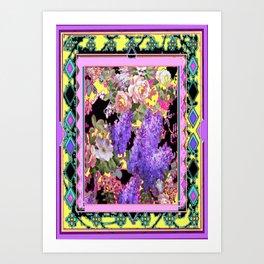 Western Style Lilac's & Roses Garden Design Art Print