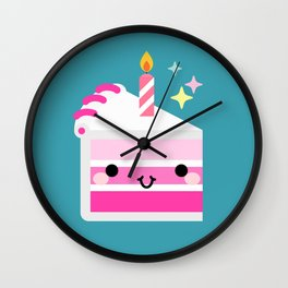Cute cake slice with candle Wall Clock