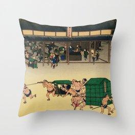 Teahouse in Kusatsu Japan -Woodblock Throw Pillow