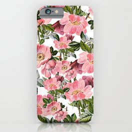 Vintage forest green pink coral bohemian floral iPhone Case