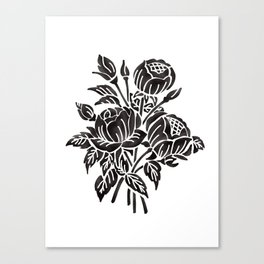 Block print roses Canvas Print
