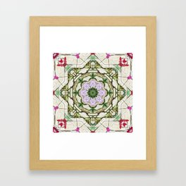 Orchids And Stone Wall Kaleidoscope 1764 Framed Art Print