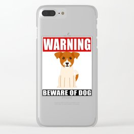 Warning Jack Russel Terrier Beware Of Dog Clear iPhone Case