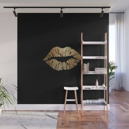 Gold Lips Blackout Wall Mural