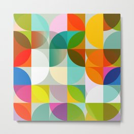 mid century geometry vibrant colors Metal Print
