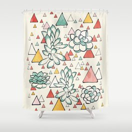 Succulent and triangles seamless pattern Shower Curtain